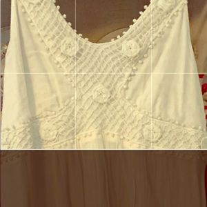 gorgeous ivory linen maxi with some crochet